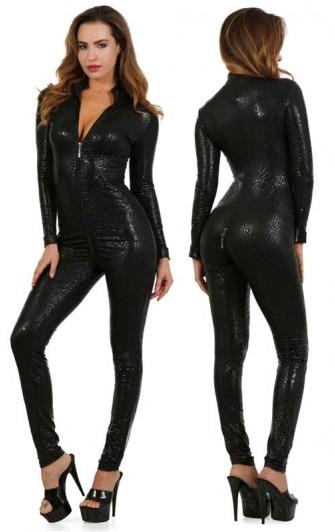 Combinaison Léopard Noir à Zips