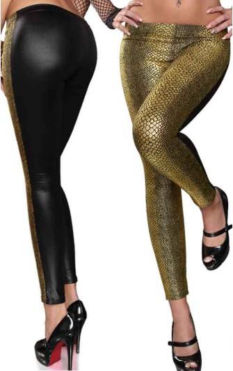 Leggings Sexy à Motifs Serpent Noir et Or