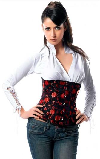 Serre Taille Noir et Damas Rouge Floral