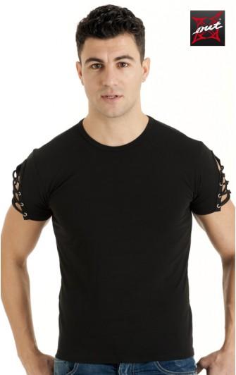 T-Shirt Sexy Noir Manches Courtes Lycra et Lacets OUTX