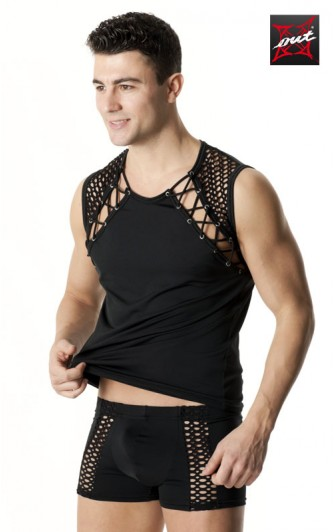 T-Shirt Sexy Homme en Lycra et Maille OUTX