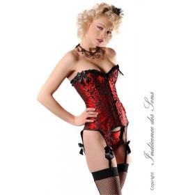Corset Burlesque Rouge et Noir Porte Jarretelles