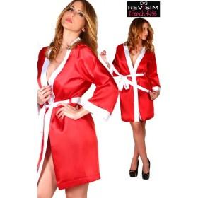 Kimono Satin Rouge et Blanc