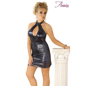 Robe Courte Anthracite Effet Paillettes - Andalea