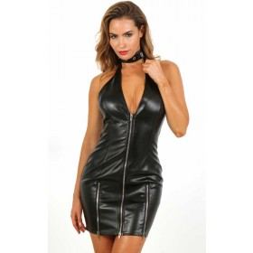 Robe Fetish Simili Cuir à Zip