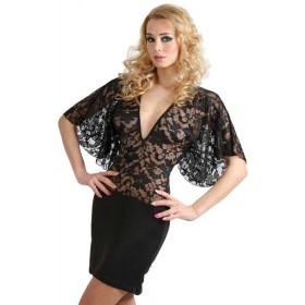 Robe Intime Dentelle Manches Amples