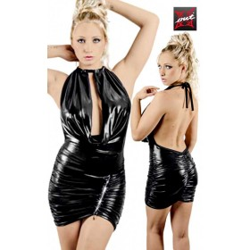 Robe Moulante Dos Nu Wetlook à Zip en Strass OUTX