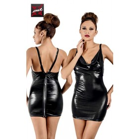 Robe Moulante Wetlook à Zip Intégral en Strass OUTX