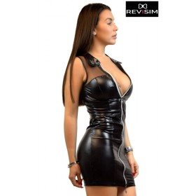 Robe Sexy Zip Wetlook & Résille
