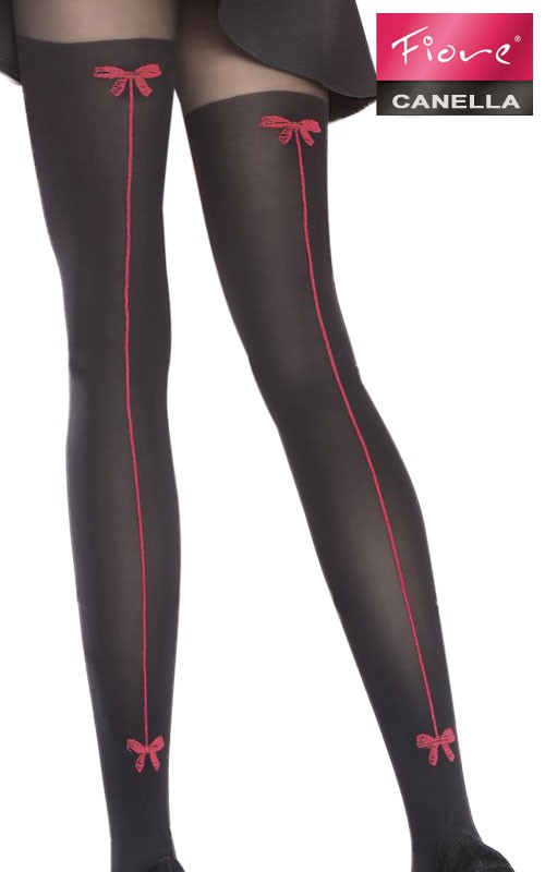 Collants Canella Semi Opaques Coutures Rouges - Fiore