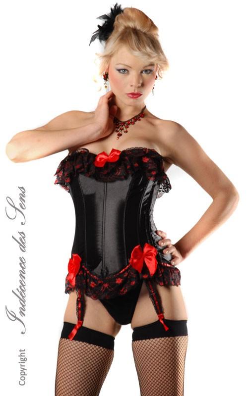 Corset Sexy Noir et Rouge Western