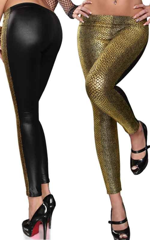 Leggings Sexy à Motifs Serpent Noir et Or