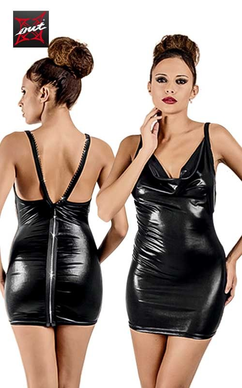 Robe Sexy Wetlook à Zip Intégral en Strass OUTX