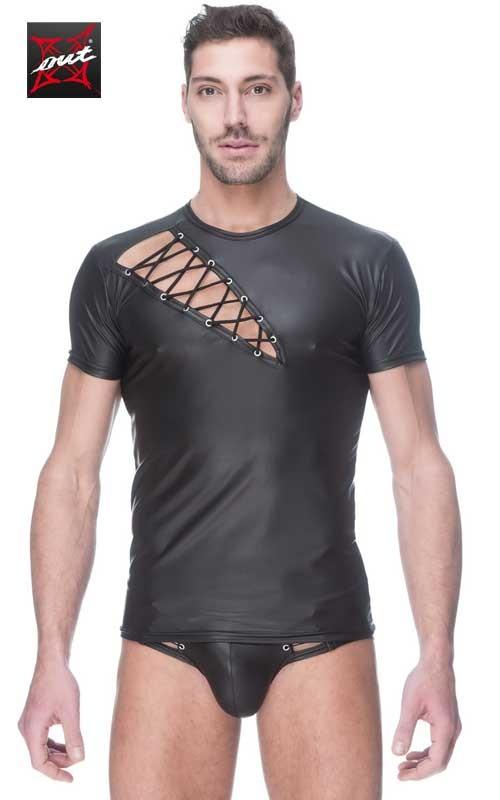 T-Shirt Sexy Homme en Vinyle Mat OUTX