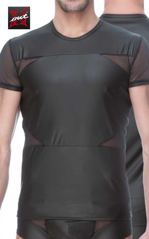 T-Shirt Sexy Manches courtes en Vinyle Mat et Maille OUTX